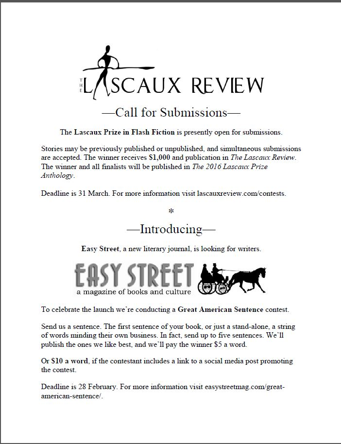 Lascaux Review winter call for submissions