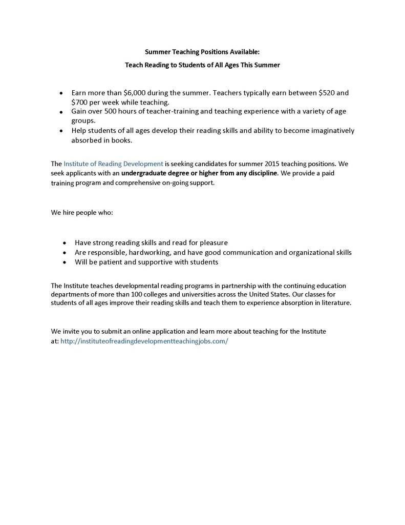 Summer Teaching Positions Available