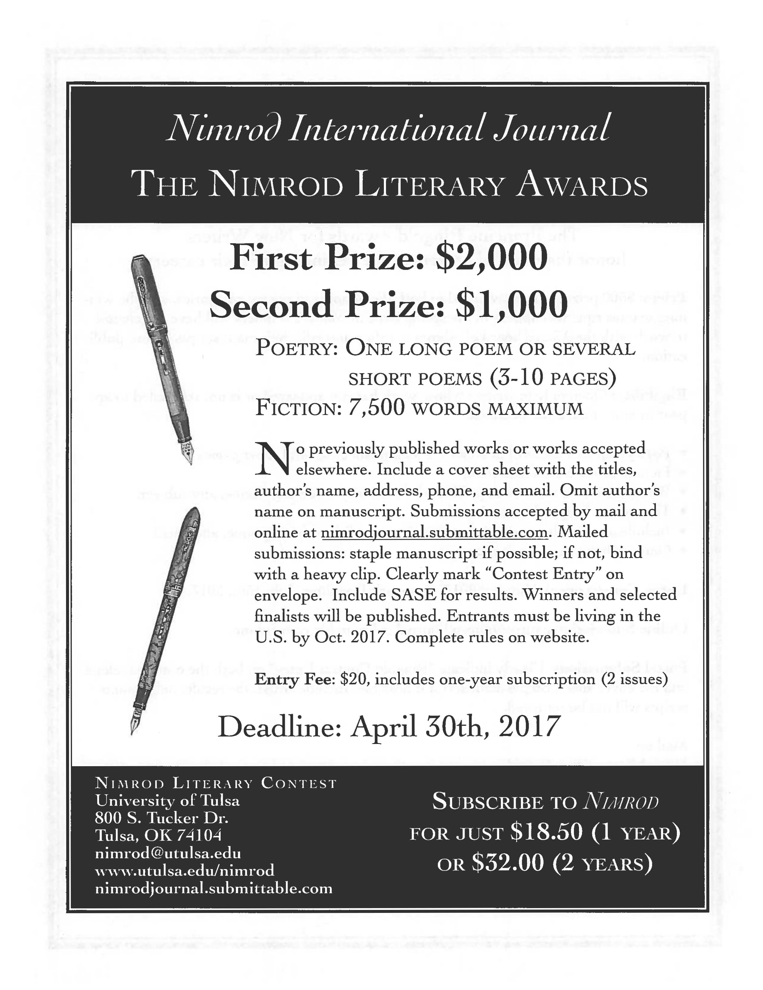 Nimrod Awards in Poetry, Fiction, and for New Writers – Ex
