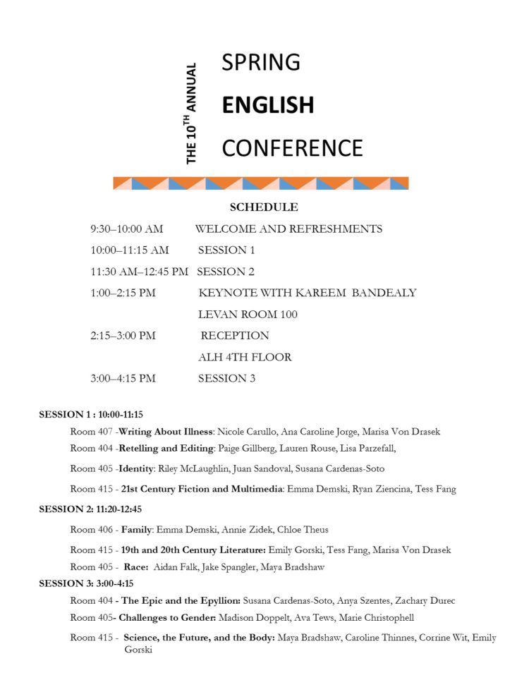 Spring English Conference 2019 Official Schedule – Ex Libris